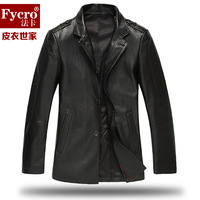 Fycro card autumn 2013 genuine leather single leather clothing male sheepskin jacket suit collar outerwear