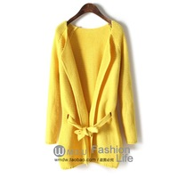Cardigan women 2013 autumn loose long-sleeve all-match belt medium-long female cardigan