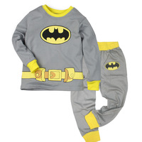 Children autumn -summer Sprots Clothing Boys Batman Pajama Sleepwear Outfits Tops + Trousers Sets 2-7 Y
