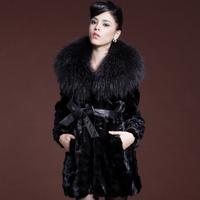 piece mink fur 2013 marten overcoat ultralarge mink raccoon fur mink Women fur coat