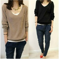 2013 autumn and winter women's female sweater pullover long-sleeve V-neck thin sweater basic shirt
