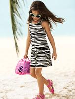 2013 New arrival Children Girl's Zebra pattern Stripe vest dress baby wear baby girl clothing  girl swimwear free shipping