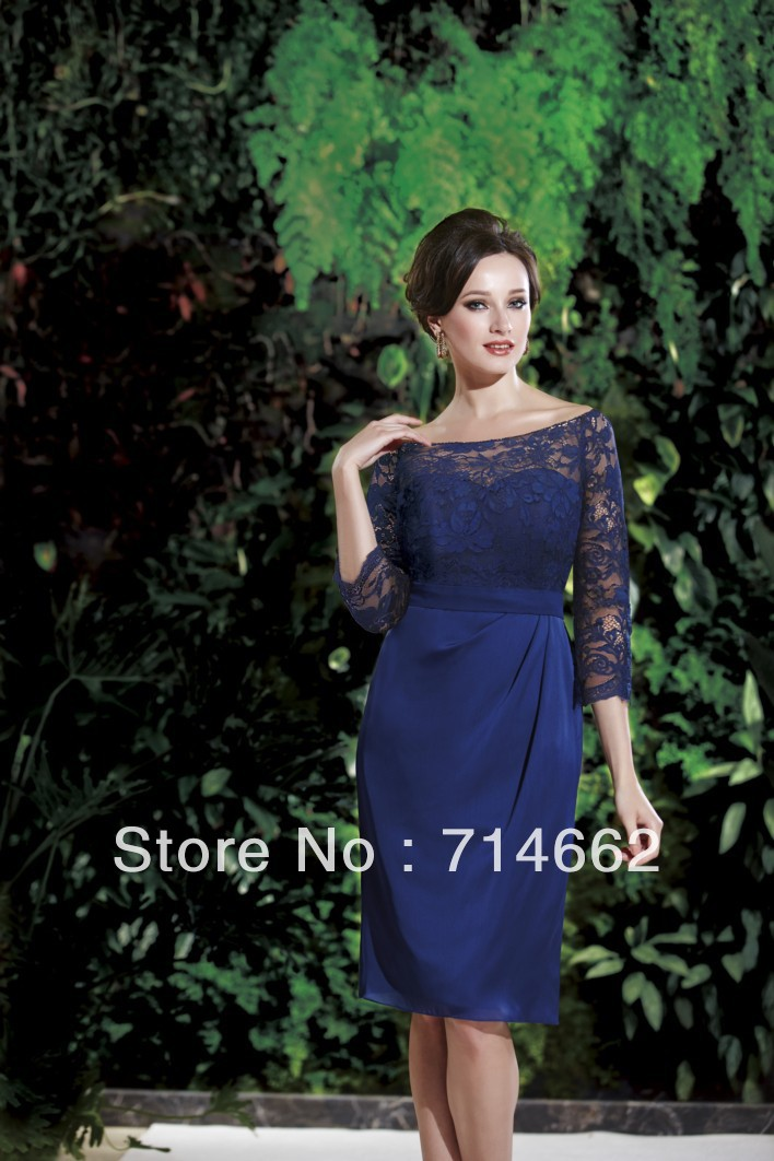 Evening Gowns With 3 4 Sleeves 3 4 Long Sleeve Lace Look
