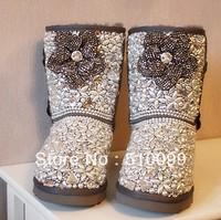 Drop shipping fashion brand women luxury sheepskin fur snow boots designer diamond flower pearl ankle boots