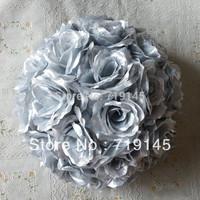30cm 12INCH 4pcs  wedding kissing ball silver  flower ball artificial flower ball wedding christmas supermarket decoration