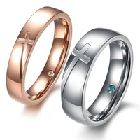 10Pairs/Lot Fashion CZ Rhinestone Cross Stainless Steel Couple Rings Wedding Finger Bands Rose Gold Plated Jewelry For Women