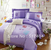 Popular princess purple sheets queen,4pc bedding set without the filler,Fashion Embroidered purple bed linen,bed sheet queen