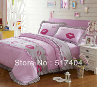 Popular girls pink princess bedding,4pc bedding set without the filler,Fashion Embroidered duvet cover,sex lip design