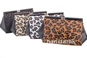 2014 Vintage Leopard Pattern PU Leather Clutch Hinge Bag