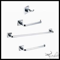 Brass Material Chrome Finish Square Bathroom set  Robe Hook + Paper Dispenser + Towel Ring + Towel Bar Bathroom accessories set
