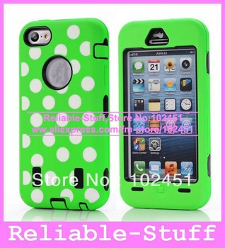 Hybrid Armour Rugged Polka Dots Silicone Rubber Hard Case Back CellPhone Cover Pouch for iPhone 5C iPhone5C 50pcs/lot IP5CC84