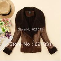 Wholesale! New 2013 Vintage Large Lapel Suede Berber Fleece Short Women's Winter PU Leather Fur Jacket Coat Size 34--40