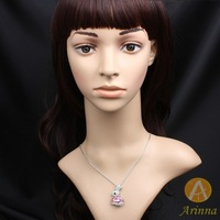 [Arinna Jewelry] Wholesale Fashion Pink Rabbit Animal  Necklace Gold Plated Snake Chain Necklace for women 2013 N0730