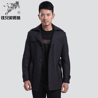 Iron men's clothing 2013 business casual medium-long woolen overcoat male overcoat outerwear