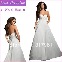 2014 New A-Line White Sweetheart Crystal and Pleated Long Empire Prom Dresses High Quality EL-105