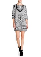 2013 autumn-summer fashion vintage mango paisley decorative pattern print half sleeve slim short basic one-piece dress