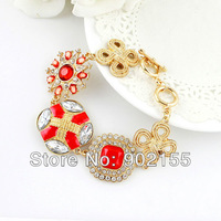 New 2014  Fashion Design Jewelry  Rhinestone Flower Enamel  Gold Color Alloy Bangles And Bracelets for Women
