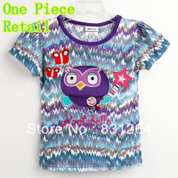 Free Shipping Baby Girl Summer T shirt Fashion New 2013 Girl Short Sleeve Owl Tees 100%Cotton Striped Style Owl T-shirt