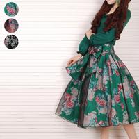 [LYNETTE'S CHINOISERIE - YHT ]  Original Design Spring Women Plus Size Vintage Cute Print Organza Skirt Sz S M L XL XXL XXXL