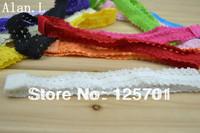 "Hot 0.7"" 200 pcs Lace elastic baby kids headbands Gir's hair band 12 colors"