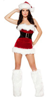 ML8032 Sexy Christmas Costume Red Velet Fur Trim Strech Mrs Claus Santa Helper Dress
