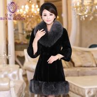 Luxury Fur coat fox fur 2013 women's  rex rabbit velvet full leather overcoat slim winter women coat