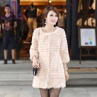New 2013 Winter Coat Women Coats Real Fur Fleece Spliced Rabbit Fur Coat For Women
