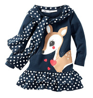 2014 spring new arrival fashion long sleeve children girl cartoon dear dress with polka dot scarf 1PCS Retail free shipping