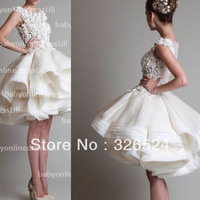 luxurious knee length wedding dress scoop neck cap sleeves lace see through ball gown bridal gown wedding gown  BO2997