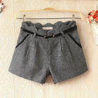 New 2013 E4764-2013 women's wave edge houndstooth woolen shorts boot cut jeans with belt 1010 skirts womens short skirt