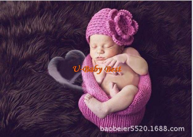 For 0-12 Months 5sets Hand Crochet Baby Rose Flower Beanies Hats Caps Sleep Bag Newborn Girl Costume Set Photography Props(China (Mainland))