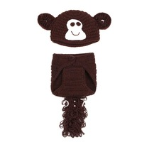 Newest Cute Cartoon Brown Money Style Handmade Baby Photography Props Modeling Wool Suit Christmas Gift XDT13
