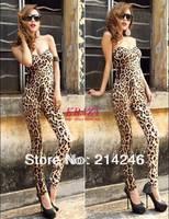 Fashion leopard off shoulder women skinny sexy clubwear  jumpsuits women jumpsuit   free shipping