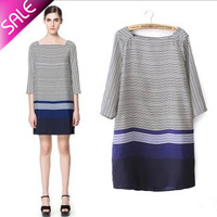 Free shipping/2013 Women's Euramerican casual  style prevalent/ slash neck/ stripe dress  /Wholesale + Retail