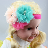 Baby Flower Hair bow With Pearl And Elastic Headband Toddler Girls For kids Hair Accessories