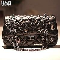 2013 fashon women's black white korean classic badge Diamond handbag lady plaid chain messenger bag 8806