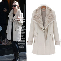 2014 fashion winter fur collar thickening keep warm british style long woolen overcoat women's outerwear wool coat