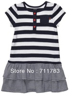 1pc retail Free Shipping 2013 new arrival carter's baby girl navy blue stripe dress, carter's baby clothing.