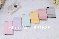 Free Shipping 1pcs stripe  Flip Leather Case Cover  for iphone5S with Stand+6 Different Colors