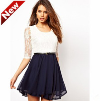 Free shipping/2013 Women's Euramerican style lace 0-neck  dress ( none waistband   ) /Wholesale + Retail