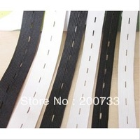Free shipping black and white garment sewing accessories 2.5cm flat elastic webbing band with hole30yards/lot