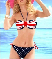 UK Flag Bikini Women's Bikinis 25 Big Small Push Up Swimwear Bikini Swimsuit Hot Springs Strapless Flag Bikini