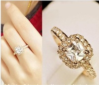 New Arrival Princess Square Zircon Ring Sparkling Finger Ring Wedding Ring