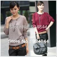 HOT SALE !Women Lace Sweet Crochet Knit Blouse Sweater 100%Cotton free shipping