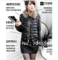 2013 Winter Women PU leather down coat wadded jacket short design slim high quality artificial fur collar winter outerwear