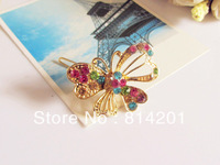 Free shipping 2013 fashion hair accessory alloy  butterfly Rhinestone hairpin 12pcs/lot
