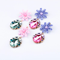 Fashion fashion accessories double layer exquisite flower drop pendant stud earring