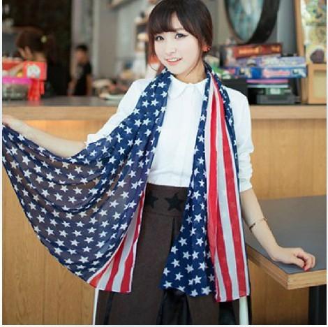 Dual Version Star Big Scarf Scarf On Sale Wholesale Flag Silk Scarves Shawls Hair Chiffon Beach Towel(China (Mainland))