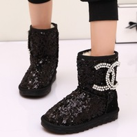 Snow boots for child Leather snow shoes luxury brand Children winter shoes Kids winter boots with paillette rhinestone