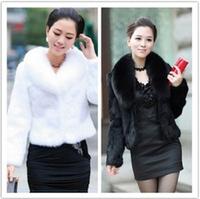 2013 women's fur coat fox fur mink hair long-sleeve o-neck short design black formal